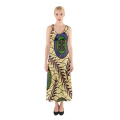 Fabrick Batik Brown Blue Green Leaf Flower Floral Sleeveless Maxi Dress