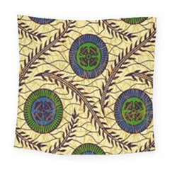 Fabrick Batik Brown Blue Green Leaf Flower Floral Square Tapestry (large)