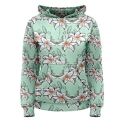 Flower Floral Lilly White Blue Women s Pullover Hoodie