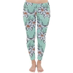 Flower Floral Lilly White Blue Classic Winter Leggings