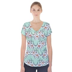 Flower Floral Lilly White Blue Short Sleeve Front Detail Top