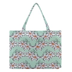 Flower Floral Lilly White Blue Medium Tote Bag by Alisyart