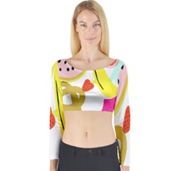 Fruit Watermelon Strawberry Banana Orange Shoes Lime Long Sleeve Crop Top