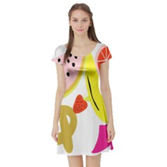 Fruit Watermelon Strawberry Banana Orange Shoes Lime Short Sleeve Skater Dress