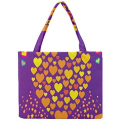 Heart Love Valentine Purple Orange Yellow Star Mini Tote Bag by Alisyart