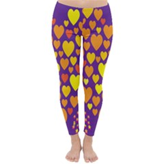Heart Love Valentine Purple Orange Yellow Star Classic Winter Leggings
