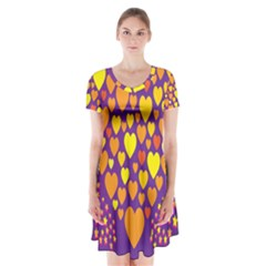 Heart Love Valentine Purple Orange Yellow Star Short Sleeve V Neck Flare Dress by Alisyart