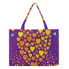 Heart Love Valentine Purple Orange Yellow Star Medium Tote Bag by Alisyart