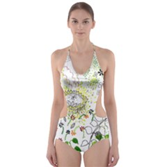 Flower Flowar Sunflower Rose Leaf Green Yellow Picture Cut Out One Piece Swimsuit