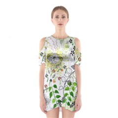 Flower Flowar Sunflower Rose Leaf Green Yellow Picture Shoulder Cutout One Piece