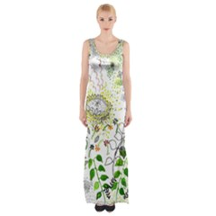 Flower Flowar Sunflower Rose Leaf Green Yellow Picture Maxi Thigh Split Dress