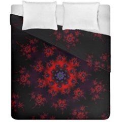 Fractal Abstract Blossom Bloom Red Duvet Cover Double Side (california King Size) by Amaryn4rt
