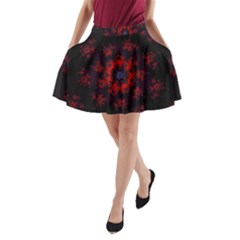 Fractal Abstract Blossom Bloom Red A Line Pocket Skirt by Amaryn4rt