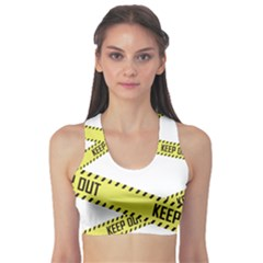 Keep Out Police Line Yellow Cross Entry Sports Bra