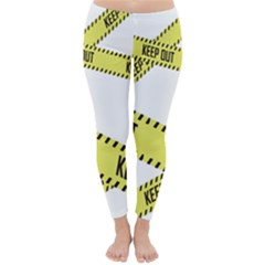 Keep Out Police Line Yellow Cross Entry Classic Winter Leggings