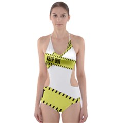 Keep Out Police Line Yellow Cross Entry Cut Out One Piece Swimsuit