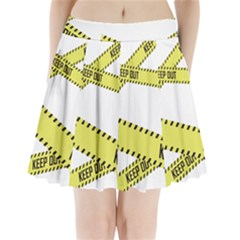 Keep Out Police Line Yellow Cross Entry Pleated Mini Skirt