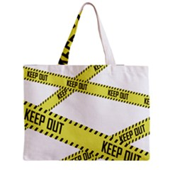Keep Out Police Line Yellow Cross Entry Medium Zipper Tote Bag