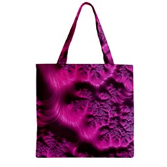 Fractal Artwork Pink Purple Elegant Zipper Grocery Tote Bag