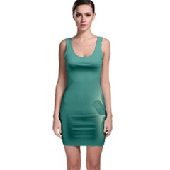 Leaf Green Blue Branch  Texture Thread Sleeveless Bodycon Dress