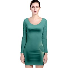 Leaf Green Blue Branch  Texture Thread Long Sleeve Bodycon Dress