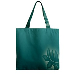 Leaf Green Blue Branch  Texture Thread Zipper Grocery Tote Bag
