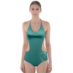 Leaf Green Blue Branch  Texture Thread Cut Out One Piece Swimsuit