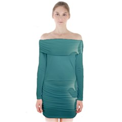 Leaf Green Blue Branch  Texture Thread Long Sleeve Off Shoulder Dress by Alisyart