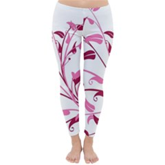 Leaf Pink Floral Classic Winter Leggings