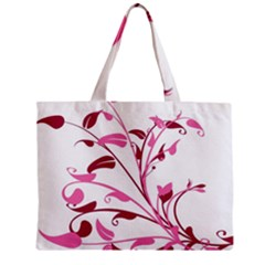Leaf Pink Floral Zipper Mini Tote Bag