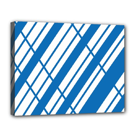 Line Blue Chevron Canvas 14  X 11