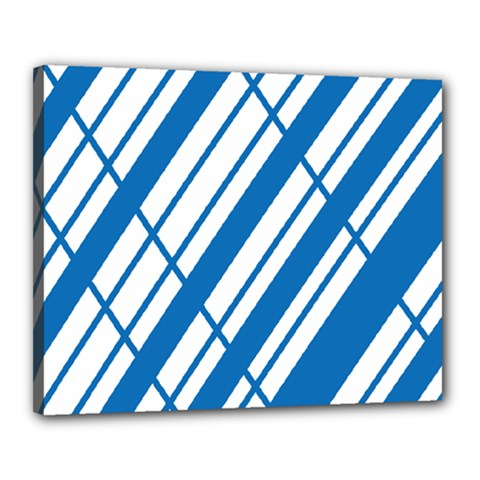 Line Blue Chevron Canvas 20  X 16