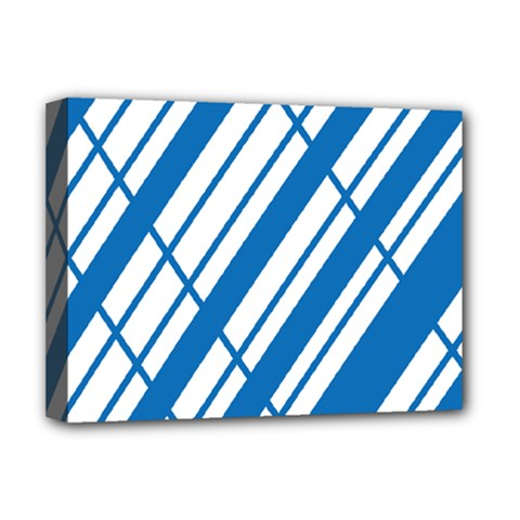Line Blue Chevron Deluxe Canvas 16  X 12   by Alisyart