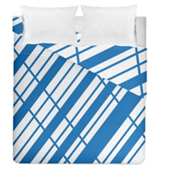 Line Blue Chevron Duvet Cover Double Side (queen Size) by Alisyart