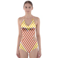 Little Valentine Pink Yellow Cut Out One Piece Swimsuit