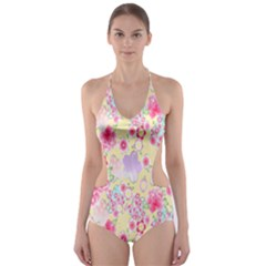 Flower Arrangements Season Floral Pink Purple Star Rose Cut Out One Piece Swimsuit