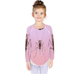 Mosquito Pink Insect Blood Kids  Long Sleeve Tee