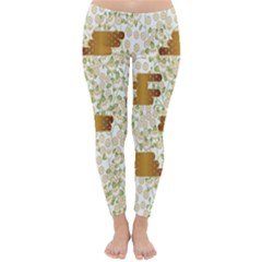 Flower Floral Leaf Rose Pink White Green Gold Classic Winter Leggings