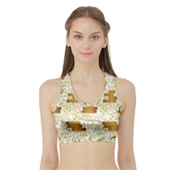 Flower Floral Leaf Rose Pink White Green Gold Sports Bra With Border