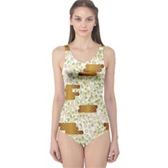 Flower Floral Leaf Rose Pink White Green Gold One Piece Swimsuit by Alisyart