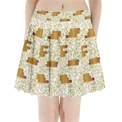 Flower Floral Leaf Rose Pink White Green Gold Pleated Mini Skirt