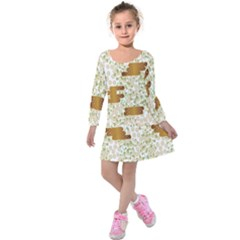 Flower Floral Leaf Rose Pink White Green Gold Kids  Long Sleeve Velvet Dress