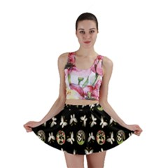 Butterfly Floral Flower Green White Mini Skirt