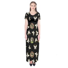 Butterfly Floral Flower Green White Short Sleeve Maxi Dress
