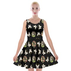 Butterfly Floral Flower Green White Velvet Skater Dress