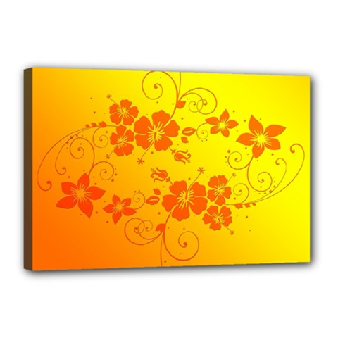 Flowers Floral Design Flora Yellow Canvas 18  X 12  by Amaryn4rt