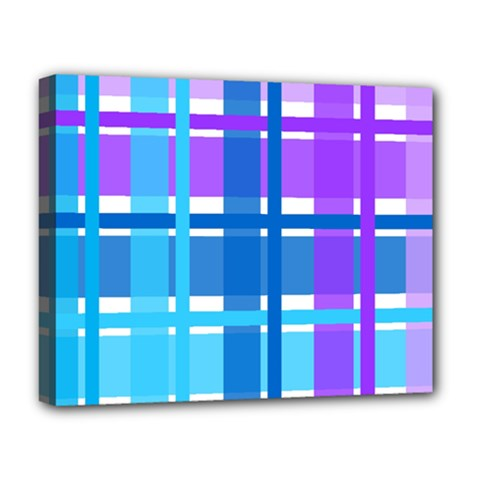 Gingham Pattern Blue Purple Shades Deluxe Canvas 20  X 16   by Amaryn4rt