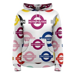 Underground Signs Tube Signs Women s Pullover Hoodie