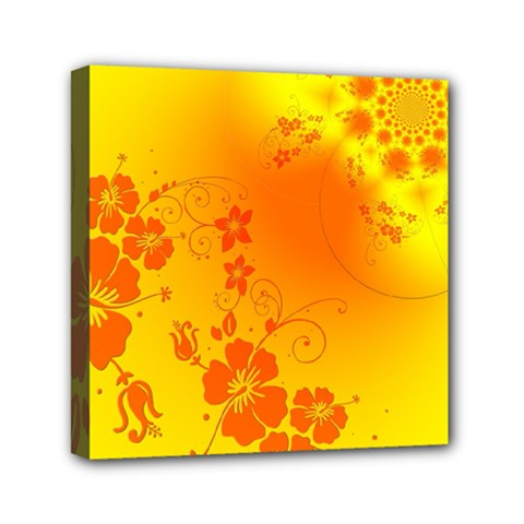 Flowers Floral Design Flora Yellow Mini Canvas 6  X 6  by Amaryn4rt
