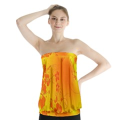Flowers Floral Design Flora Yellow Strapless Top